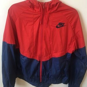 Red and blue nike windbreaker
